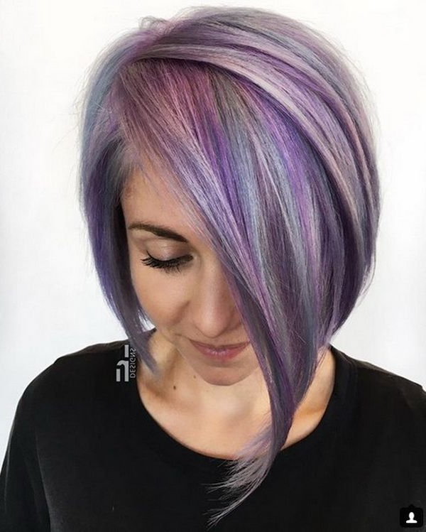 Edgy Violet Asymmetrical Bob Haircuts 2018 2019 With Sleek Outcome With Asymmetrical Unicorn Bob Haircuts (View 3 of 25)