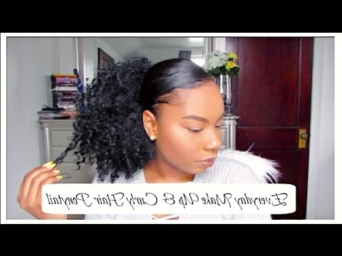 Everyday Make Up & Easy Natural Curly Hair Ponytail Tutorial – Youtube Throughout Naturally Curly Ponytail Hairstyles (View 4 of 25)