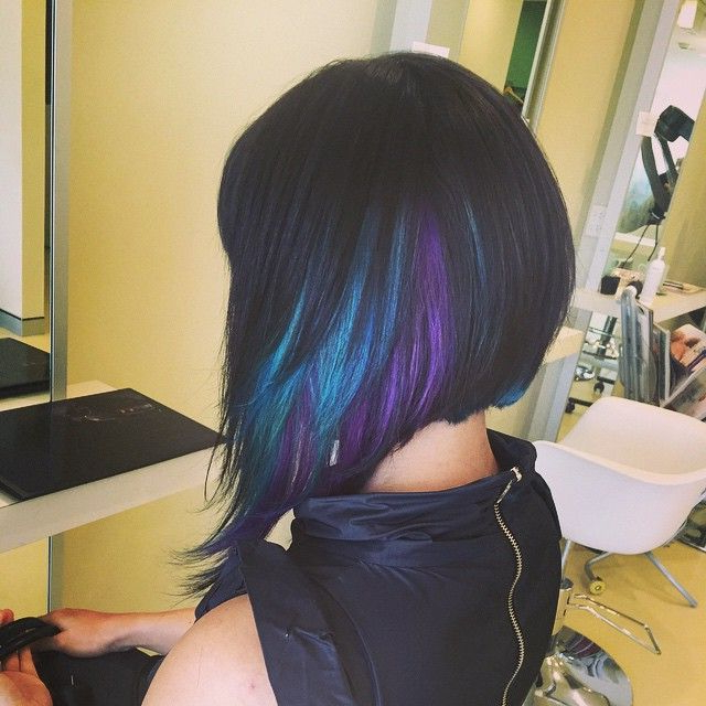 Extreme Concave With Turquoise & Sugarplum Purple Peekaboo Panels Throughout Extreme Angled Bob Haircuts With Pink Peek A Boos (View 21 of 25)