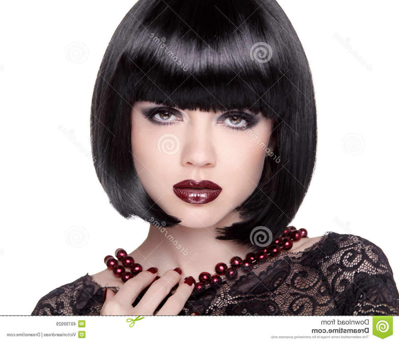 Fashion Brunette Girl Model With Black Bob Hairstyle. Lady Vamp with Black Bob Short Hairstyles