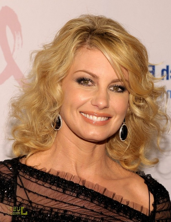 Feminine & Trendy Hairstyle: 80's Curls On Medium-Long Blonde: Faith within Sleek Blonde Bob Haircuts With Backcombed Crown
