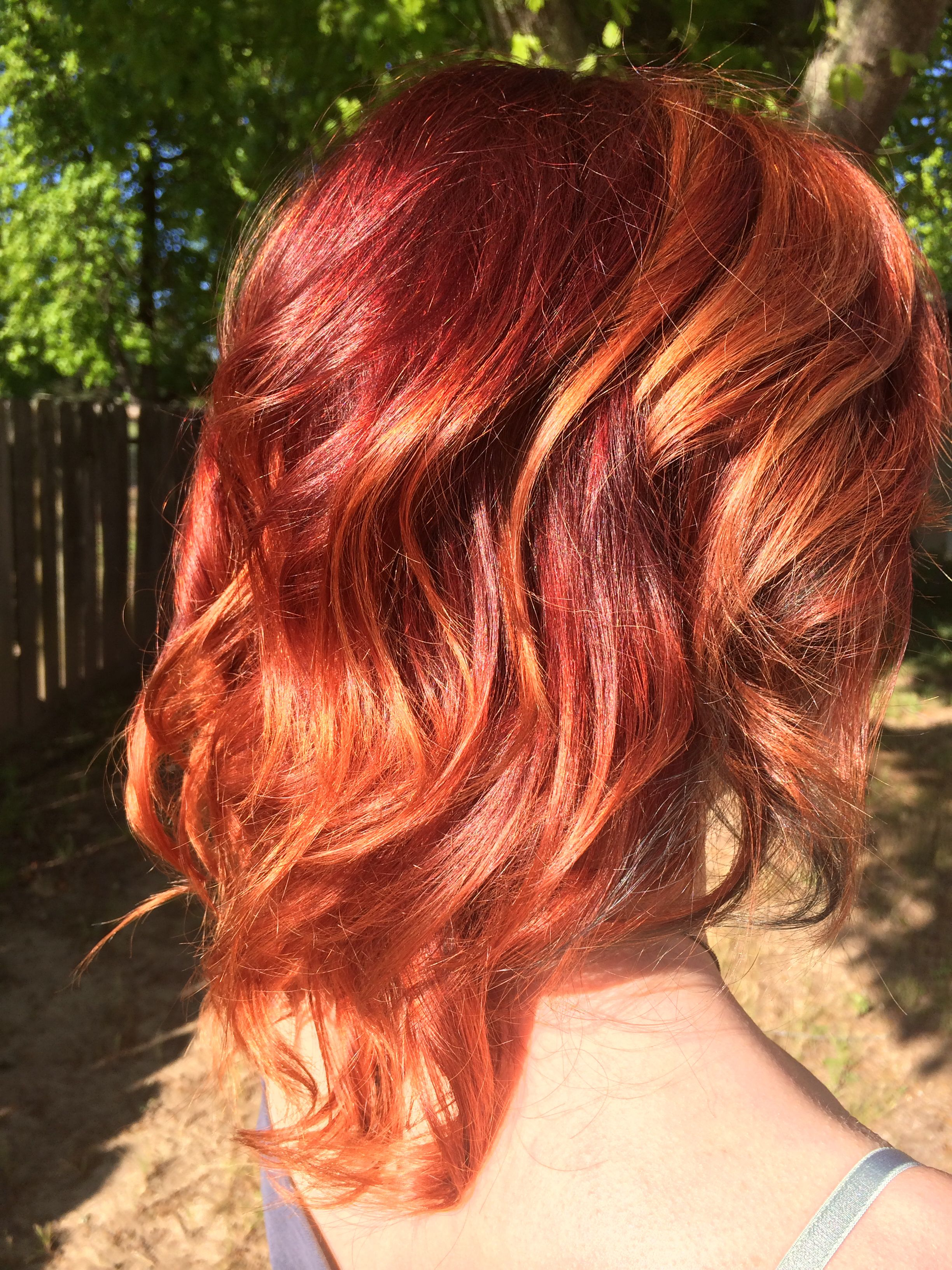 Fiery Red To Copper Balayage Ombré On Short To Medium Length Hair in Fire Red Short Hairstyles