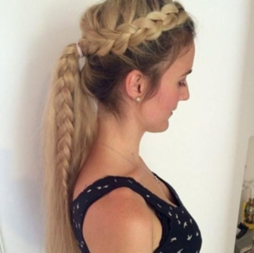 French Braid Up To Ponytail 17 Trendy Two Tone Braided Pony Photos Regarding Trendy Two Tone Braided Ponytails (View 6 of 25)