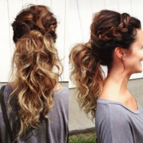 French Braid Updo With Curls Braided Ponytail For Curly Hair Images In French Braid Ponytail Hairstyles With Curls (View 6 of 25)