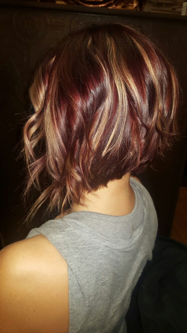 Fun Red Violet Inverted Bob With Golden Highlights | New Hair I Want Within Short Bob Hairstyles With Whipped Curls And Babylights (View 6 of 25)