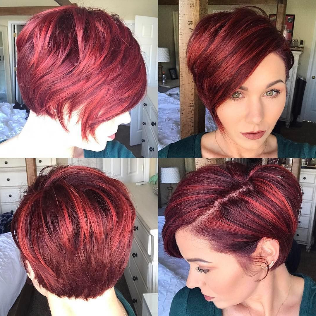 Get This Hairstyle: – Red Highlighted Graduated Asymmetrical Pixie Within Short Haircuts Side Swept Bangs (Gallery 14 of 25)