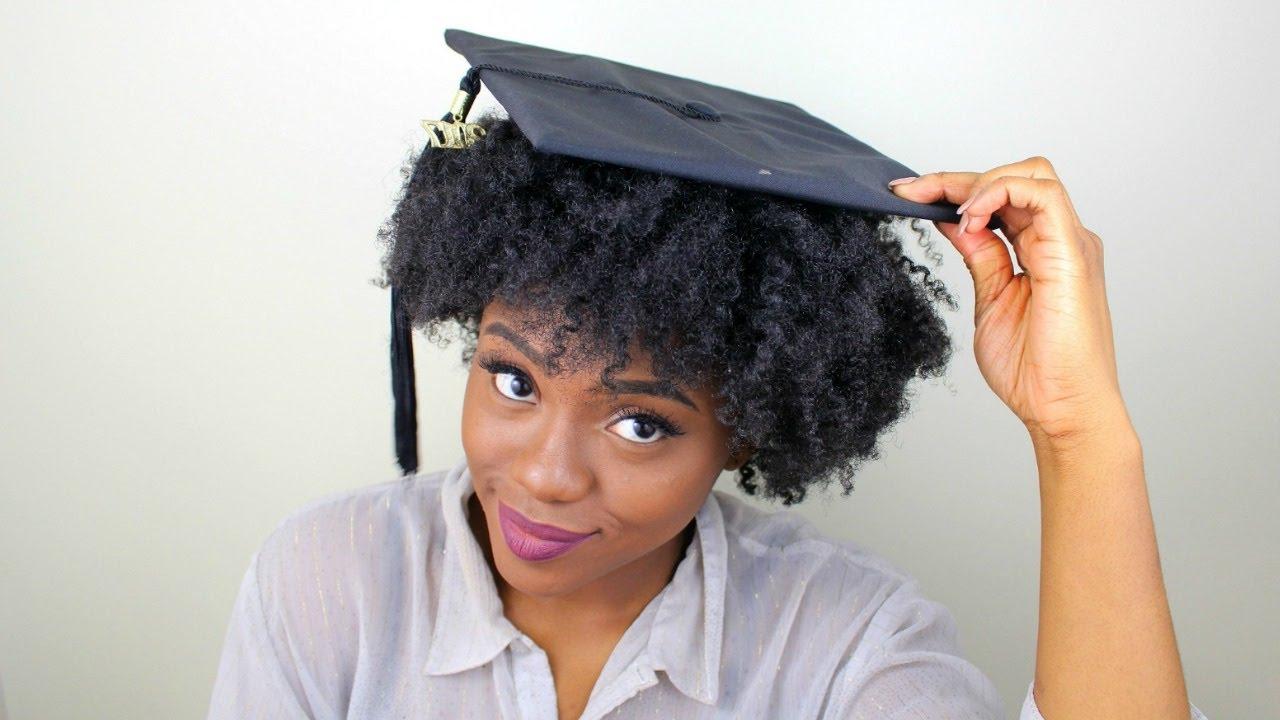 Graduation Cap Hack For Natural Hair (No Bobby Pins) – Youtube Inside Graduation Cap Hairstyles For Short Hair (View 20 of 25)