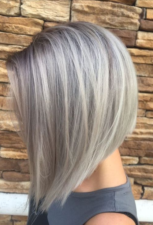 Gray Silver Hair Colors For Bob Short Hairstyles 2018 | Hair Colors With Silver Balayage Bob Haircuts With Swoopy Layers (Gallery 21 of 25)