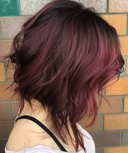 Great Asymmetrical Short Bob Hairstyles With Red Ombre Color | Prom Intended For Burgundy And Tangerine Piecey Bob Hairstyles (Gallery 13 of 25)