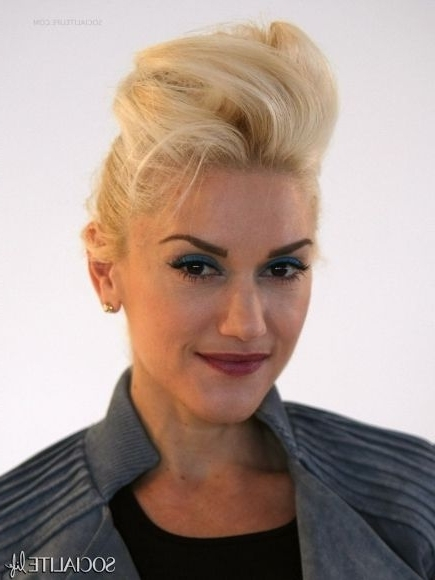 Gwen Stefani – Rock Chick – Hair – Updo – Quiff – Coif – Bouffant Inside Messy Blonde Ponytails With Faux Pompadour (View 17 of 25)