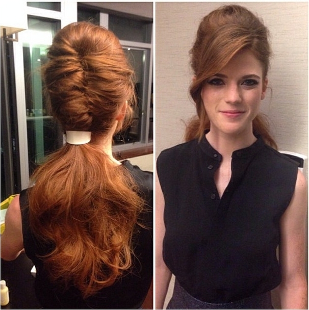 Hair Envy: Rose Leslie's Retro French Twist Ponytail – Celebrity For Twisted Retro Ponytail Updo Hairstyles (View 4 of 25)