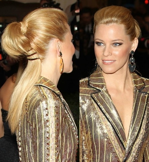 Hair How To: Elizabeth Banks' Sculpted Pony + More Punk Inspired Within Sculptural Punky Ponytail Hairstyles (View 6 of 25)