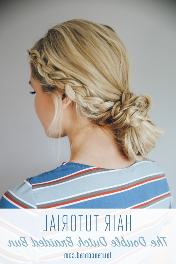 Hair How To: The Double Dutch Braid Bun – Lauren Conrad Within Blonde Ponytails With Double Braid (View 21 of 25)