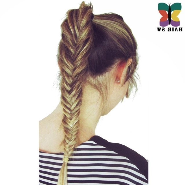 Hair Sw Long Straight Fishtail Braids Ponytail Clip In Plaited Rope Throughout Fishtail Ponytails With Hair Extensions (View 16 of 25)