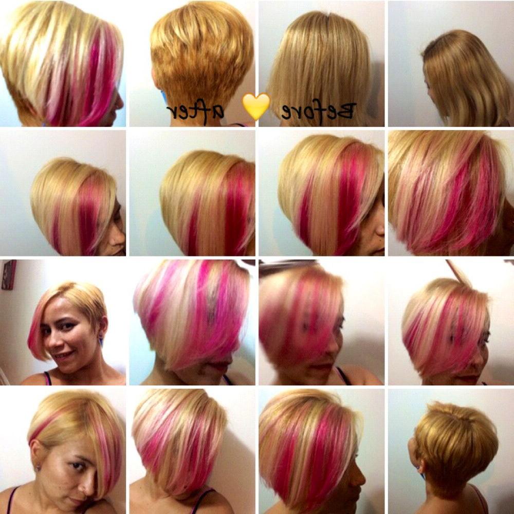 Hair Transformation Symmetrical Short Haircut With Hot Pink Within Symmetrical Short Haircuts (View 8 of 25)