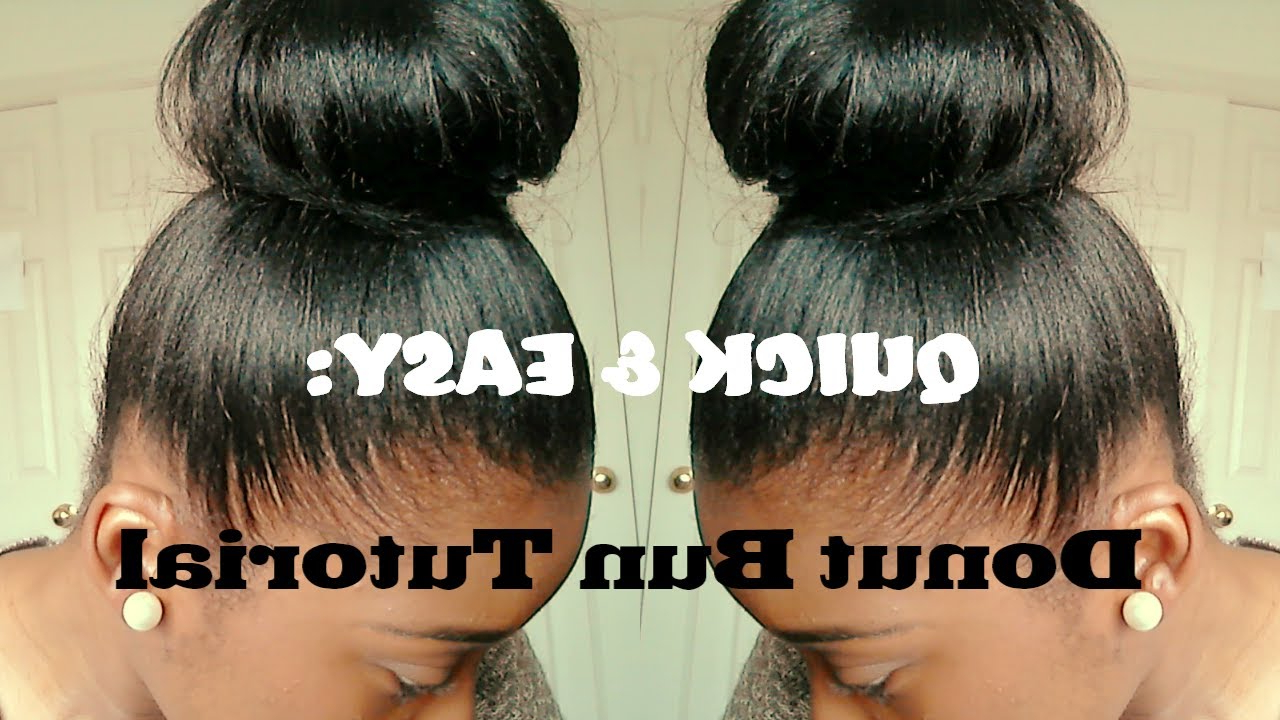 Hair Tutorial| High Bun For Relaxed Hair (Quick And Easy) – Youtube Intended For Shorter Black Messy Hairstyles (View 20 of 25)