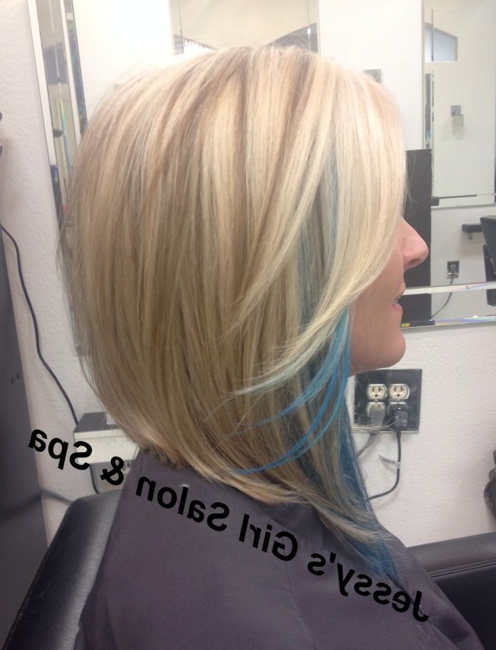 Hairjessy Graham, Angled Bob, Lob, Touch Of Aqua Blue Hair Color Inside Extreme Angled Bob Haircuts With Pink Peek A Boos (View 22 of 25)