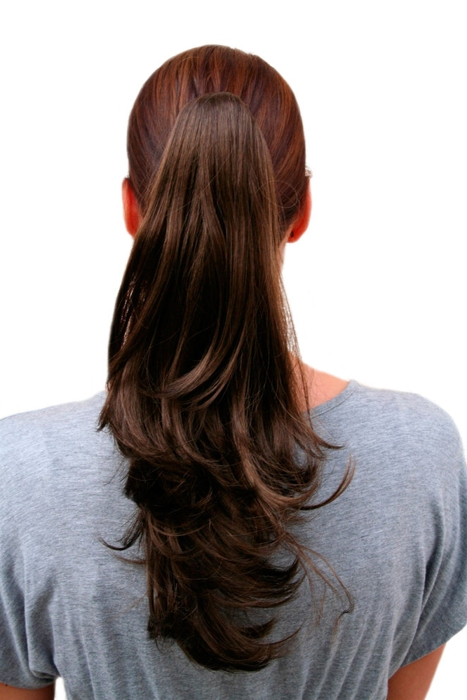 Hairpiece Ponytail Medium Length Straight, Wavy Ends Brown (T400 Pertaining To Wavy Ponytails With Flower (View 14 of 25)