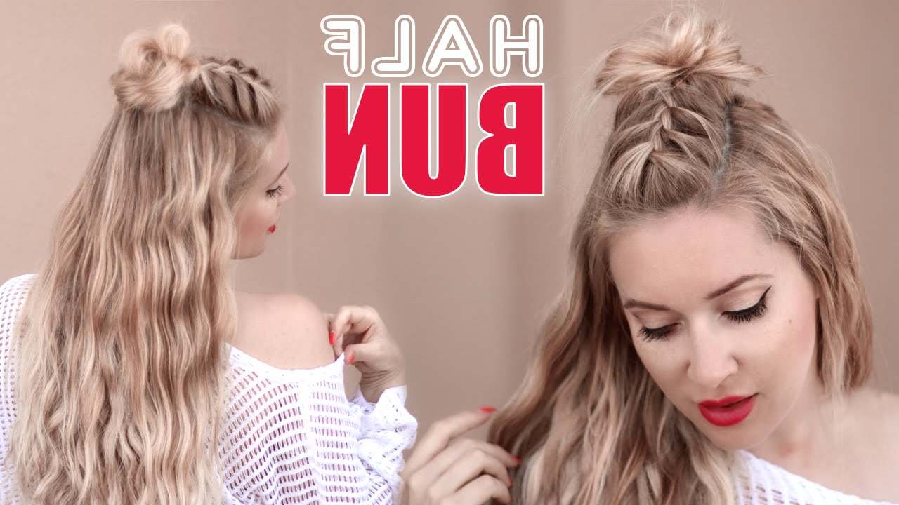 Half Bun Half Down Hairstyle ? Braided Back To School Hair Tutorial With Half Long Half Short Hairstyles (View 19 of 25)