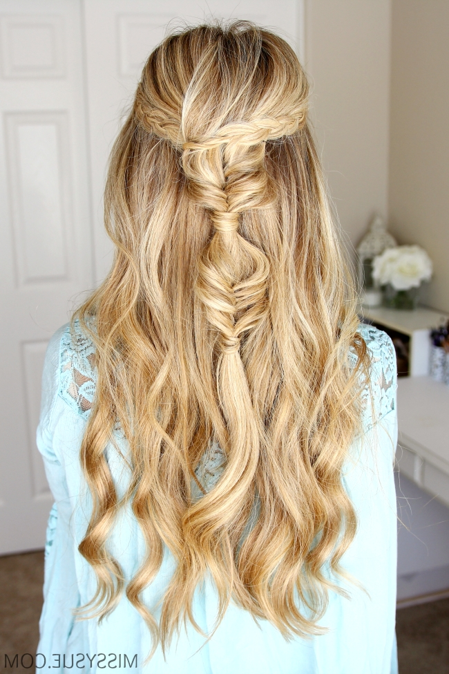 Half Up Dutch Braids And Bubble Fishtails | Missy Sue With Regard To French Braid Ponytail Hairstyles With Bubbles (View 18 of 25)