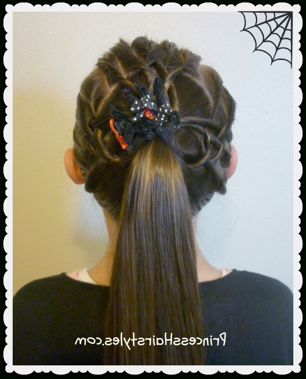 Halloween Hairstyles – Tangled Weave Spider Web Ponytail With Tangled And Twisted Ponytail Hairstyles (View 19 of 25)