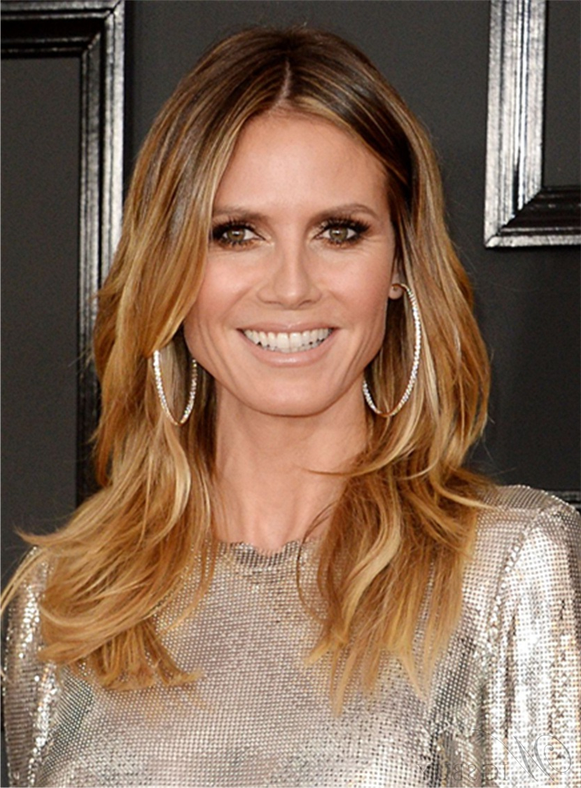 Heidi Klum Mid Length Layered Hairstyle Human Hair Lace Front Wigs Pertaining To Heidi Klum Short Haircuts (View 13 of 25)