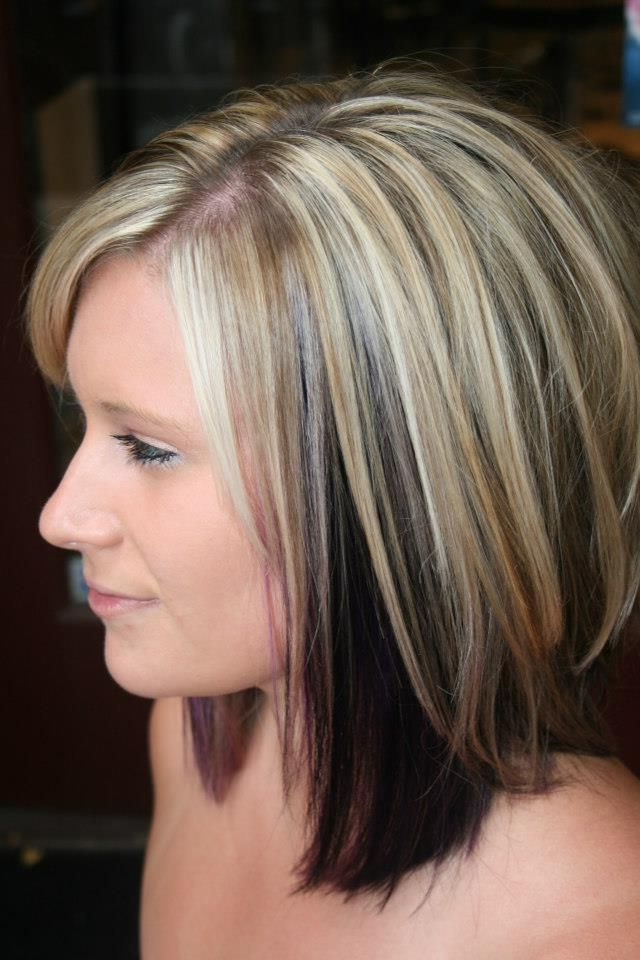 Highlights With Color Blocked Black And Purple Underneath (View 12 of 25)