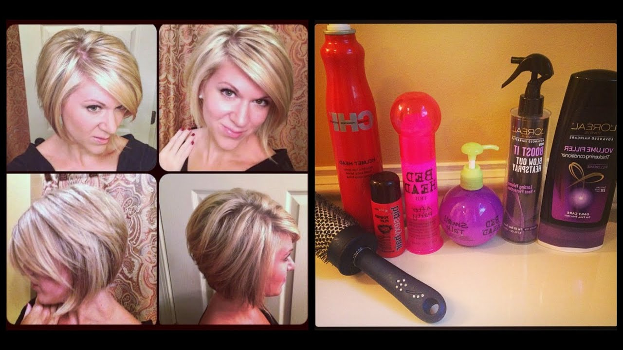 How I Style My Hair — Inverted Or Stacked Bob – Youtube Throughout Inverted Bob Short Haircuts (View 12 of 25)