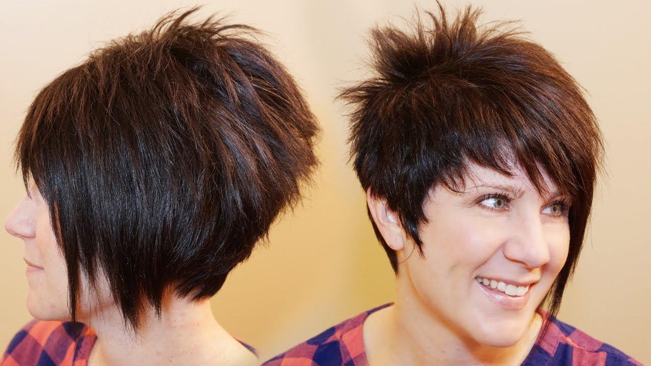 How To Cut Womens Hair // Short Pixie Assymetrical A Line Haircut Inside Asymmetric Short Haircuts (View 13 of 25)