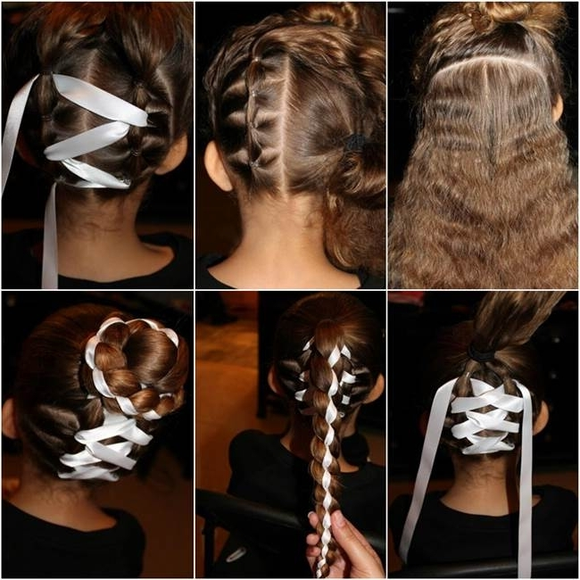 How To Diy Cute Braided Bun With Ribbon Hairstyle For Braid And Bun Ponytail Hairstyles (View 17 of 25)