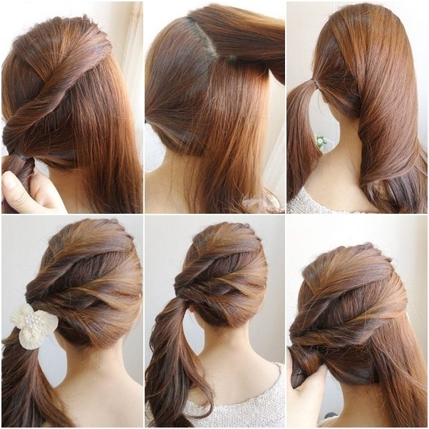 How To Diy Simple Twist Side Ponytail Hairstyle With Regard To Fancy Updo With A Side Ponytails (View 15 of 25)