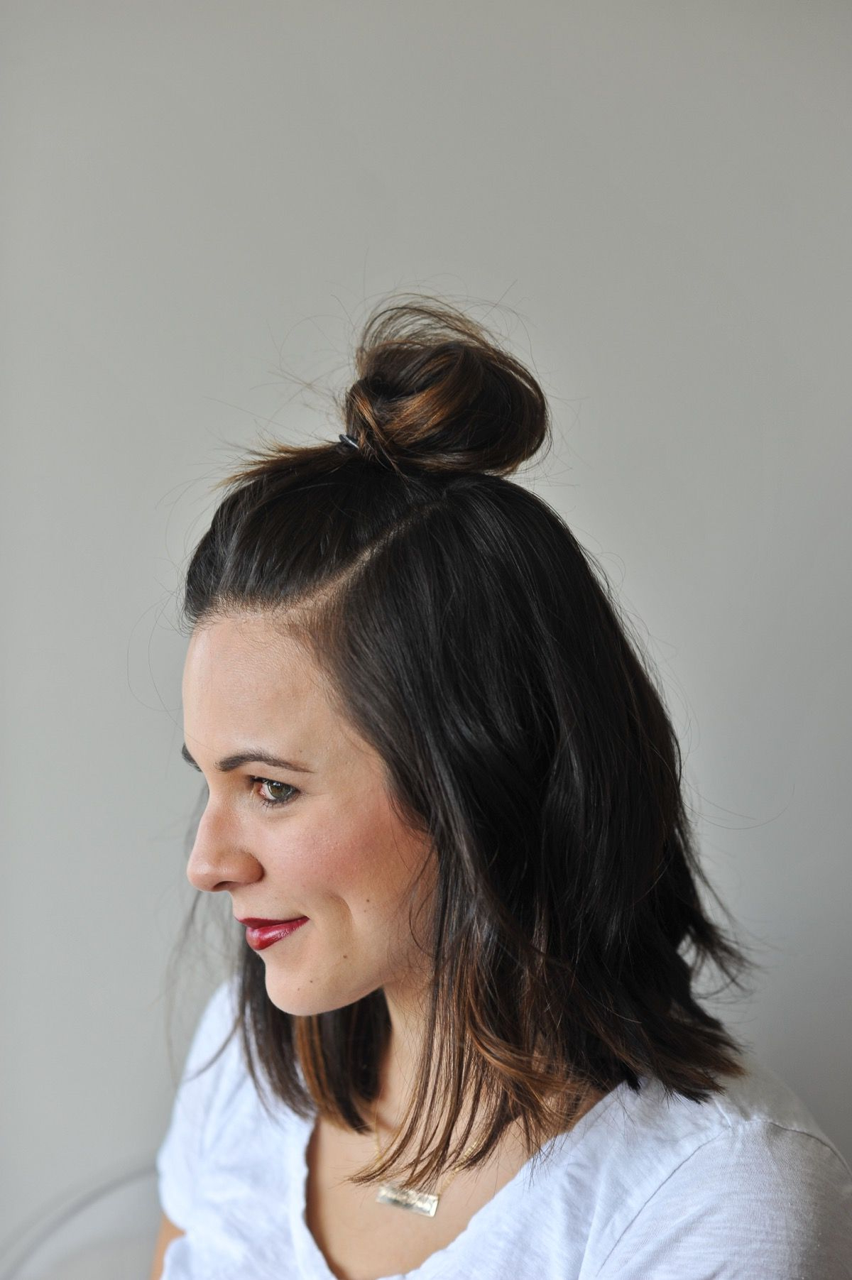 How To Do A Half Top Knot With Short Hair | Hair | Pinterest | Short With Half Long Half Short Haircuts (View 4 of 25)
