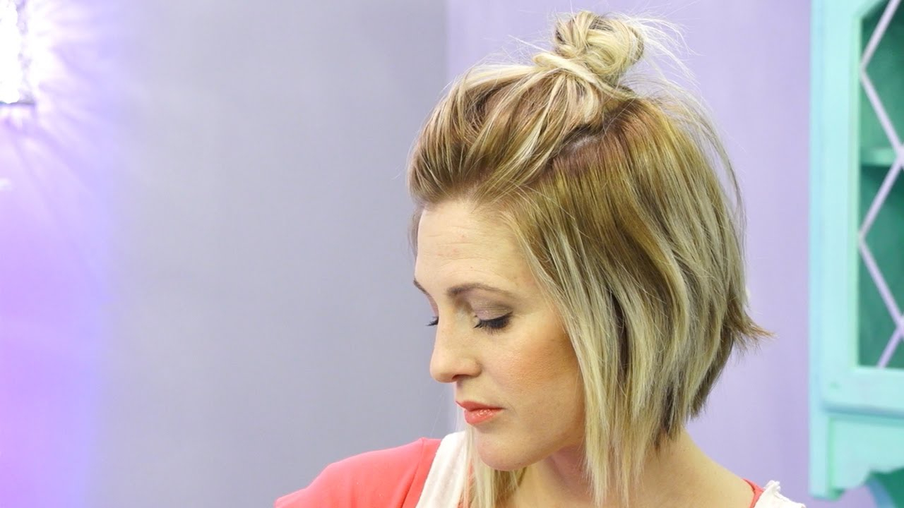 How To Do A Half Up Messy Bun With Short Hair (Hack) – Youtube Throughout Half Long Half Short Hairstyles (View 4 of 25)