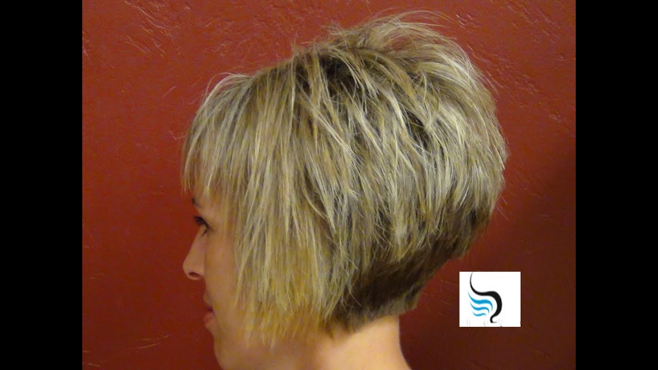 How To Do A (Short Stacked Haircut) With Straight Bangs Girl Throughout Wedge Short Haircuts (View 13 of 25)