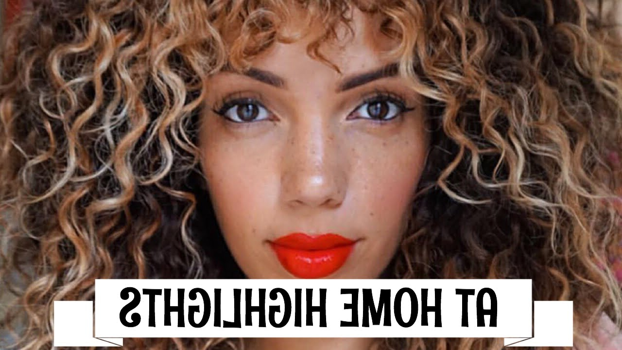 How To Highlight/ombre Curly Hair At Home Diy ( Revlon Frost & Glow Intended For Brown Curly Hairstyles With Highlights (View 21 of 25)