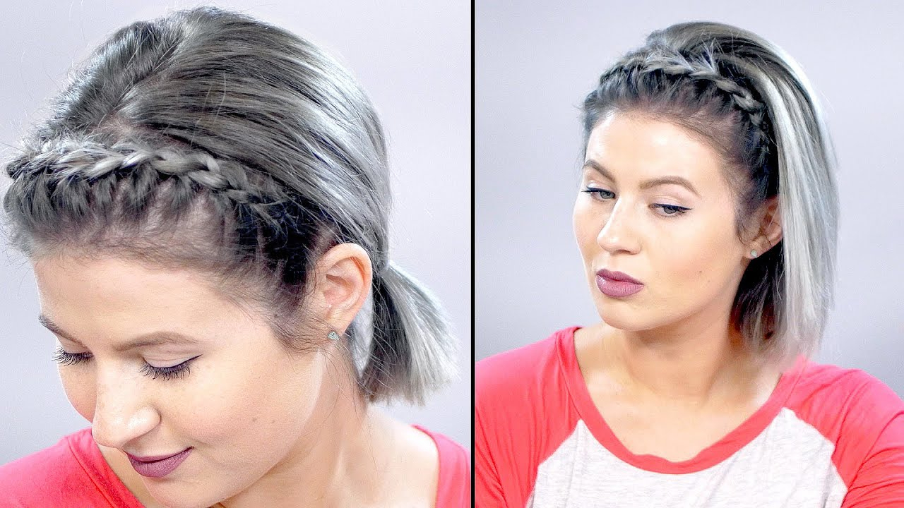 How To: Lace Braid Headband On Short Hair Tutorial | Milabu – Youtube With Short Hairstyles With Headbands (View 7 of 25)