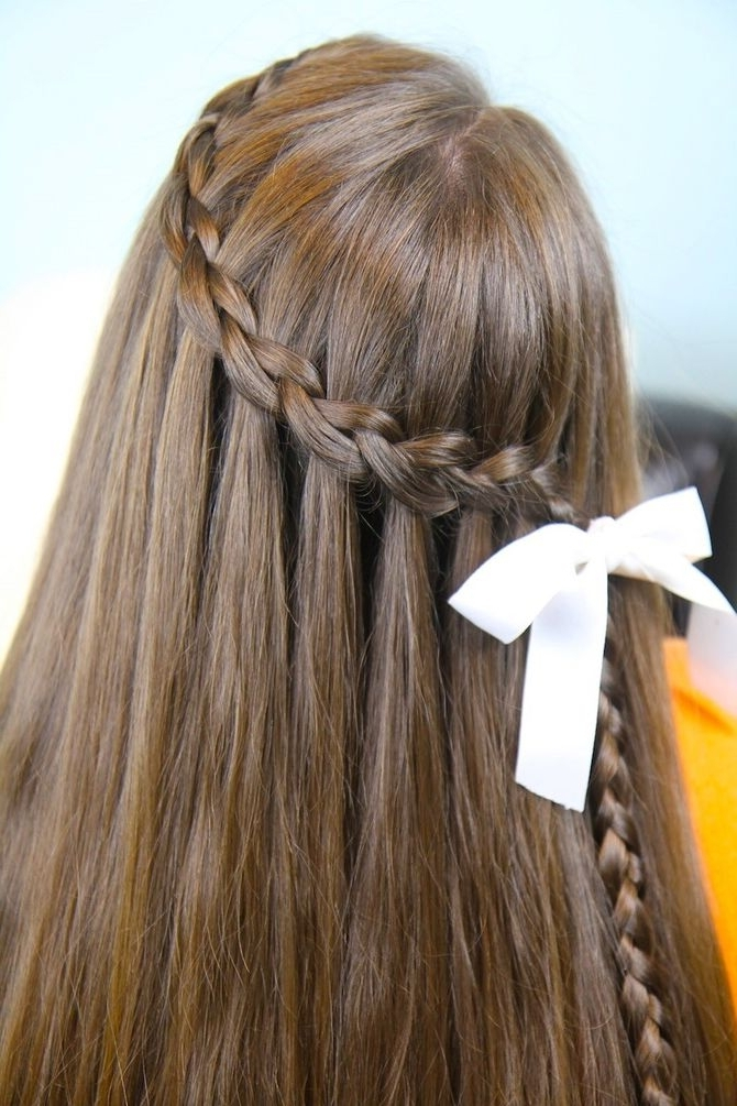 How To Make A Cascade Waterfall Braid: 10 Steps (With Pictures) With Regard To Cascading Braided Ponytails (View 17 of 25)
