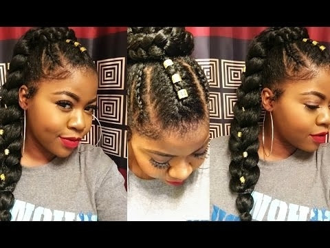 How To :sleek Ponytail With Braiding Hair| Hairstyles For Black Within Triple Braid Ponytail Hairstyles (View 15 of 25)