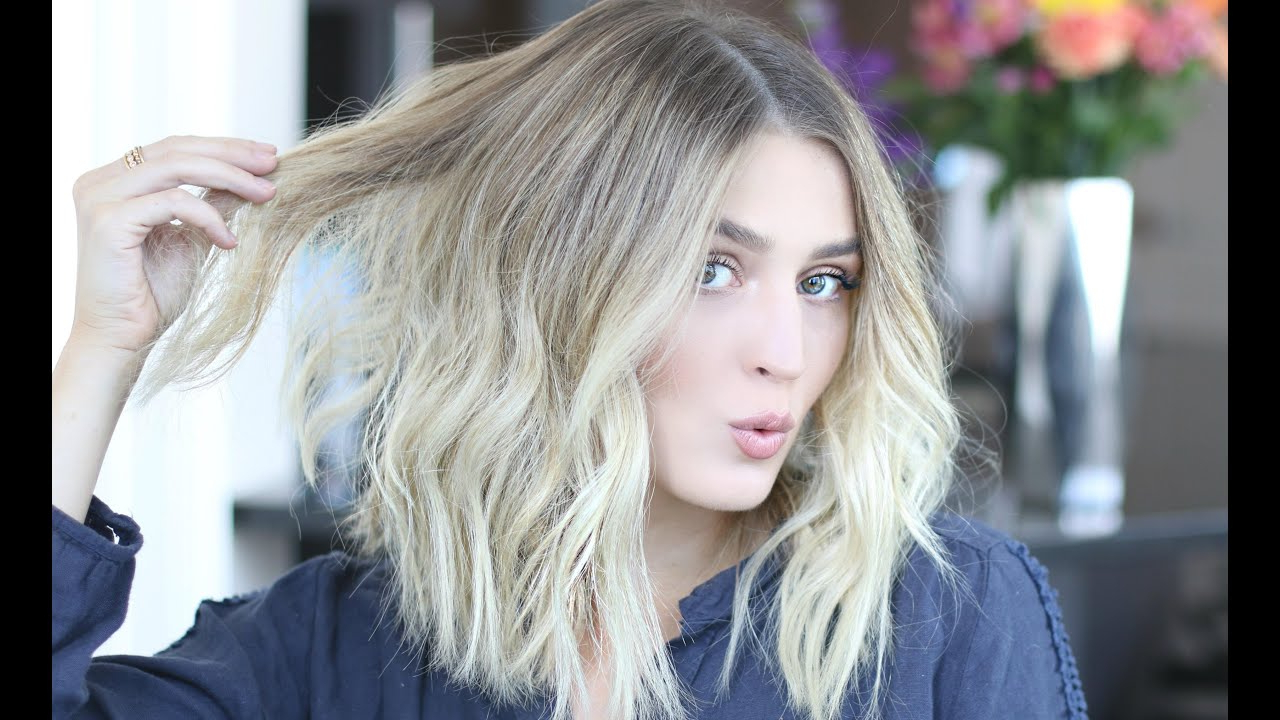 How To Style A 'lob' | Easy Voluminous & Tousled Waves – Youtube Inside Simple Short Hairstyles With Scrunched Curls (View 24 of 25)
