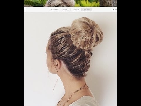 How To: Upside Down Dutch Braid Into A Braided Bun – Youtube Throughout Reverse Braid And Side Ponytail Hairstyles (View 23 of 25)