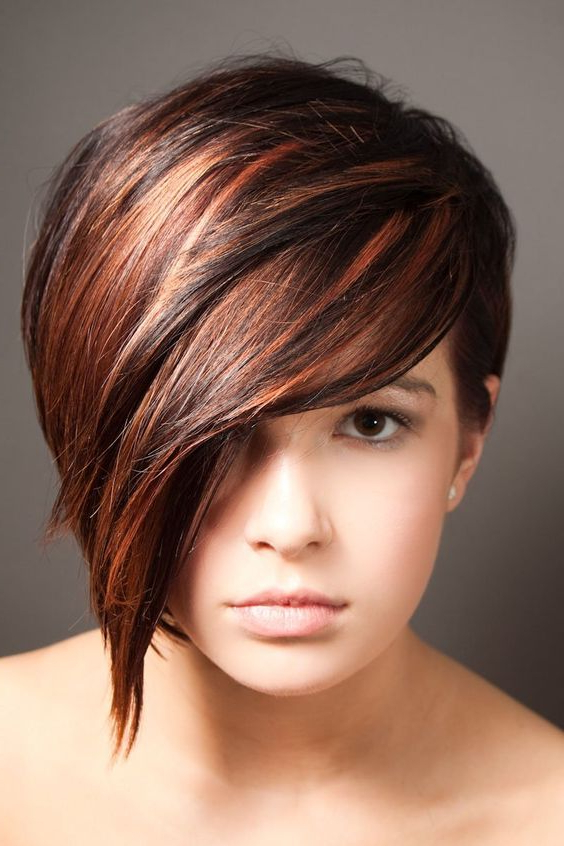 Image Result For Dark Pixie Cut With Highlights | Hair In 2018 Regarding Long Feathered Espresso Brown Pixie Hairstyles (View 16 of 25)