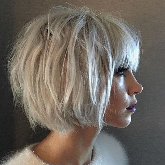 In Love With This Textured Bob@kyytang @glencocoforhair #regram Pertaining To White Bob Undercut Hairstyles With Root Fade (View 13 of 25)