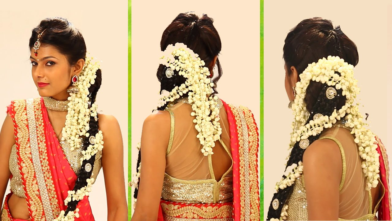 Indian Bridal Hairstyle Stepstep – South Indian Bridal Hair Within Short Hairstyles For Indian Wedding (View 7 of 25)