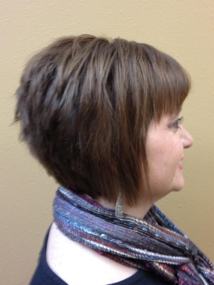 Inverted Bob With Bang: Short Haircuts – Popular Haircuts For Short Tapered Bob Hairstyles With Long Bangs (View 1 of 25)