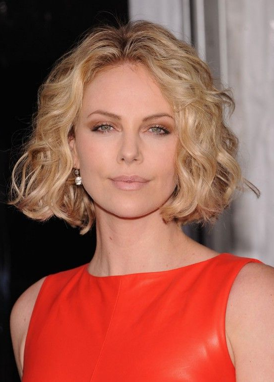 Jaw Length Curly Bob Haircut In 2018 | Those Curly Girls | Pinterest for Jaw-Length Wavy Blonde Bob Hairstyles