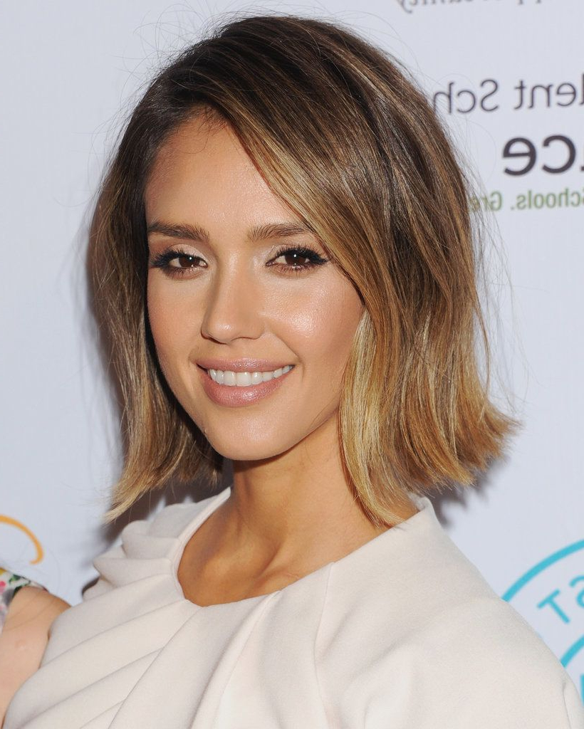 Jessica Alba's Blunt New Bob Is The Ultimate Hot Mom Haircut Intended For Jessica Alba Short Hairstyles (View 15 of 25)