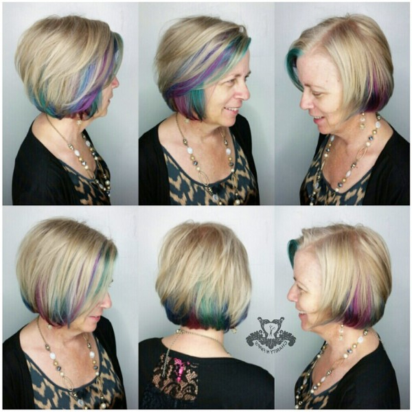 Jewel Toned Underlights ? Asymmetrical Inverted Bob Haircut regarding Asymmetrical Unicorn Bob Haircuts