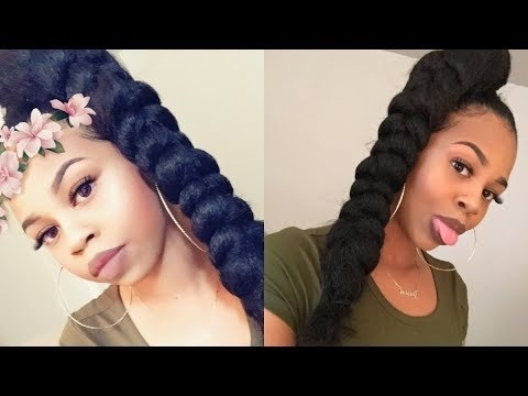 Jumbo Braid High Ponytail W/ Braiding Hair | Crystyle Beauty – Youtube Within Multicolored Jumbo Braid Ponytail Hairstyles (View 3 of 25)