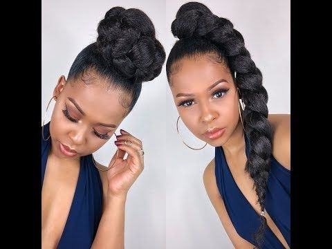 Jumbo Braid Ponytail - Youtube | Natural Hair Updos/protective throughout Multicolored Jumbo Braid Ponytail Hairstyles