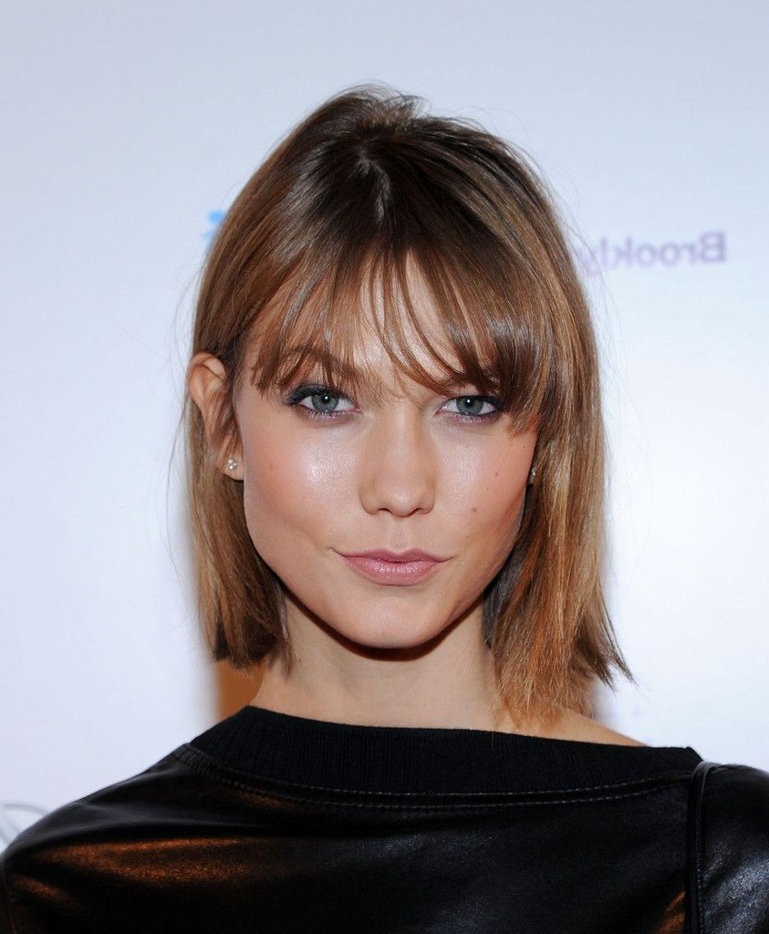 Karlie Kloss Short Straight Cut In 2018 | Karlie Kloss | Pinterest Throughout Short Haircuts With Wispy Bangs (View 4 of 25)